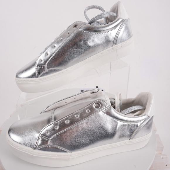 58a3d6cc193c Bershka Shoes | Womens Silver Metallic Platform Sneakers | Poshmark